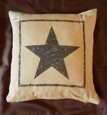"Primitive Black Star Cotton Burlap Decorative Throw Pillow - 16"" x 16"""