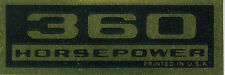 1962 63  CORVETTE  360 HP VALVE COVER DECAL-PAIR