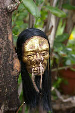 LONG HAIRED GOLD FACE SHRUNKEN HEAD MIRROR DANGLE 50s