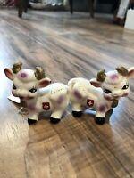 Vintage Switzerland Smiling Cows Salt Pepper Shaker Set
