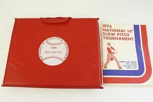 "1976 National 16"" Slow Pitch Softball Tournament Program and Seat Cushion"