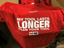 "Milwaukee Power Tools ""My Tool Lasts Longer"" T-Shirt Size Medium ""Authentic"""