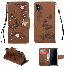 For iPhone X 7/8 Plus Bling Butterfly Flip Leather Wallet Card Stand Case Cover