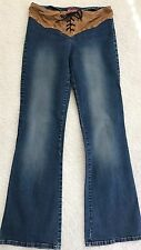 "Women's Jeans Boot Cut size 5  - Windsor Laced-Up Waist  Inseam 31"" Waist 29"""