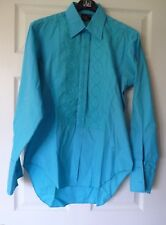 Men's Vintage Rael-Brook Turquoise Embroidered Cotton Evening Shirt 16 46""