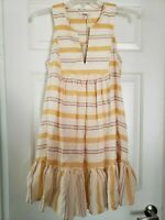 LEMLEM Dress Sz S By Liya Kebede Zeritu Bib Dress Yellow Striped TJ1932 Sundress