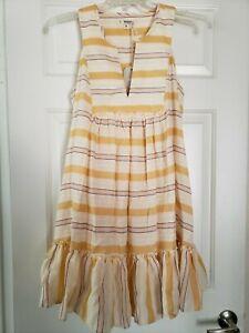 LEMLEM Dress Sz S By Liya Kebede Zeritu Bib Dress Yellow Striped TJ1932 Sundress