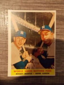 1958 Topps #418 Mickey Mantle/ Hank Aaron World Series Batting Foes