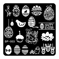 Happy EASTER Nail Art Stamping Image Template Manicure Tools Stencil Lovely SP03
