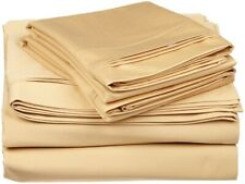 4-pc Olympic Queen 100% Egyptian Cotton Gold Sheet Set Triple Pleated Hem
