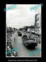 OLD POSTCARD SIZE PHOTO PANAMA CITY FLORIDA THE WWI MILITARY PARADE c1942
