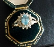 9ct gold Blue and White Topaz ring size O