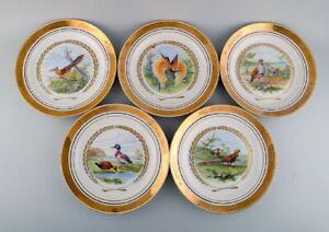 Royal Copenhagen. Set of five large dinner / decoration plates with bird motifs.