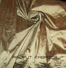 100% Natural Silk Dupioni Fabric Platinum Brown Popular Gold Sand BY THE YARD