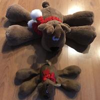 2 HALLMARK RODNEY REINDEER PLUSH STUFFED ANIMALS CHRISTMAS DECOR COLLECTIBLES