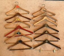 New listing 12 Vintage Wooden Clothes Suit Hangers Advertising Clothing Stores Hotels Lot
