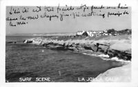 1948 RPPC Photo Postcard Surf Scene San Diego California La Jolla 2816