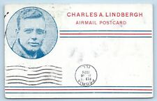 AVIATION LINDBERGH AGAIN FLIES THE MAIL 1928 TO A.C. ROL OF PEORIA, ILLINOIS