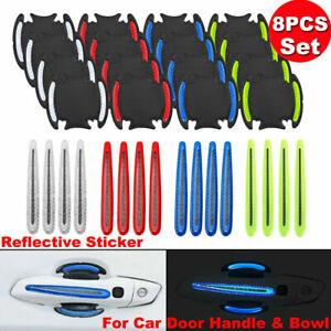 8pcs Universal Car Door Reflective Stickers Handle Bowl Scratch Protector Guards