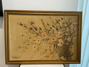 Vintage Oil Painting flowers by K wayts 26x18