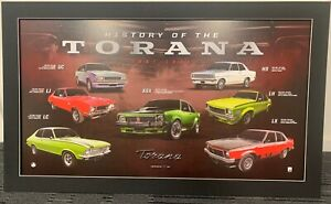 HOLDEN HISTORY OF THE TORANA FRAMED DELUXE LIMITED EDITION Print LJ LC LH LX A9X