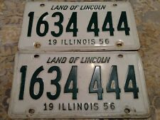 Vintage 1956 Illinois Car Tag Land Of Lincoln License Plate 1634-444 White Green