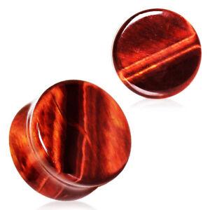 Pair of Natural Red Tiger Eye Stone Saddle Plug Double Flare Ear Lobe Plugs E549