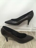 Brown faux snakeskin leather Hiltons Symphony Shoes Court Heels UK Size 6 NEW
