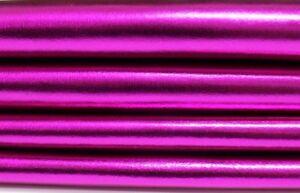 Italian Lambskin leather hide skin pelt  METALLIC HOT PINK FUSCHIA FUCHSIA 8sqf