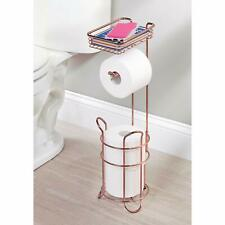 Rose Gold Toilet Paper Dispenser and Reserve with Storage Shelf