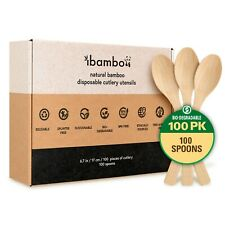 Ibambo Natural Bamboo Disposable Cutlery Utensils Set - 100 Spoons