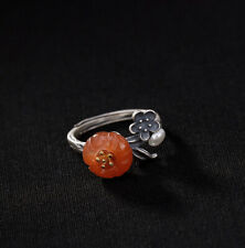 A02 Ring Silver 925 with Bloom from Red Agate Small Pearl Adjustable Size