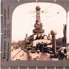 WWI Stereoview card:  USS Pennsylvania, forward gun turrets