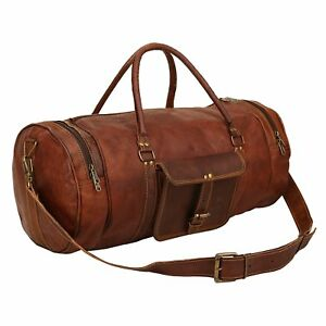 Travel Men's Brown Leather Retro vintage Large Round duffle travel gym bag New