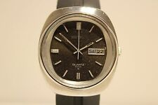"VINTAGE JAPAN BIG ALL STAINLESS STEEL MEN'S QUARTZ DAY DATE WATCH""SEIKO""SQ 4004"