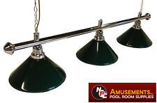 QUALITY Pool Snooker Billiard Table Light Chrome with 3 x Green Shades 1.5m