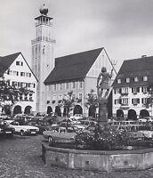 Freudenstadt im Schwarzwald - Marktplatz mit Rathaus - um 1975 - Parkplatz