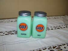 Jadeite Reproduction Salt and Pepper Shakers with Gulf Oil Advertising