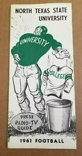 NORTH TEXAS STATE COLLEGE FOOTBALL MEDIA GUIDE - 1961