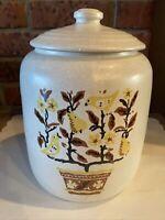 Vintage USA Pottery Ceramic Cookie Jar Tree of Life Birds Pears Flowers