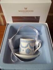 WEDGWOOD JASPER ICONIK TEA CUP & SAUCER CHRISTMAS ORNAMENT NEW IN BOX