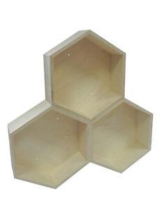 Set of 3 Wooden Geometric Floating Hexagon Honeycomb Shelves Deep Handmade Shelf
