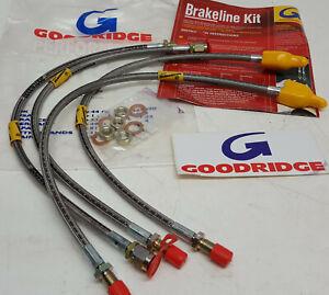 All 4 (new set) De Tomaso Pantera steel braided Goodridge Brake Hoses SDT0100-4P