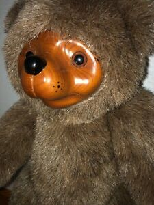 "Vtg Brown Wood Face 12"" Raikes Jointed Applause Teddy Bear 1985 Collectible Nr"