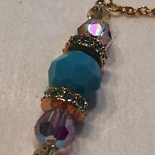 Dainty Swarovski Crystal Bead & GoldTone Chain Bracelet AB Violet Peking Blue