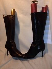 Karen Millen Ladies Brown Knee Zip Leather Boots Uk 5.5 Ref Ja01