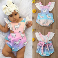 USA Newborn Baby Girls Cartoon Romper Jumpsuit Bodysuit Sunsuit Outfits Clothes