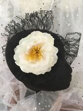 Handmade Headband Formal Races Etc. Brand New,Black Lace Ivory floral fascinator