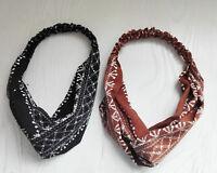 Women Lady Boho Retro Vintage look Cross Twist hair headband band bandana scarf