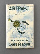 AIR FRANCE PARIS - BUCAREST VINTAGE AIRLINE ROUTE MAP - CARTE DE ROUTE